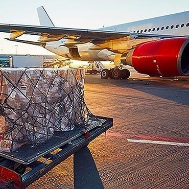 Cargo waiting to be loaded onto a plane