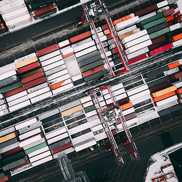Cargo containers at a Norwegian port