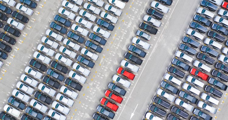 View of parked cars from above