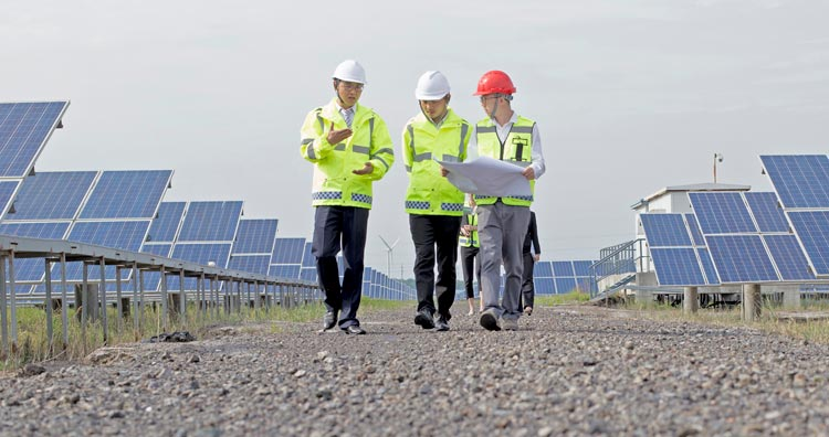 Engineers discussing solar panels