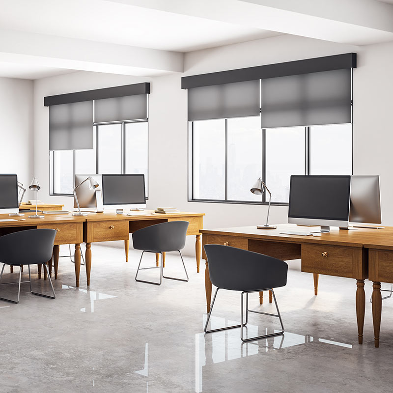 Smart shades in a modern office