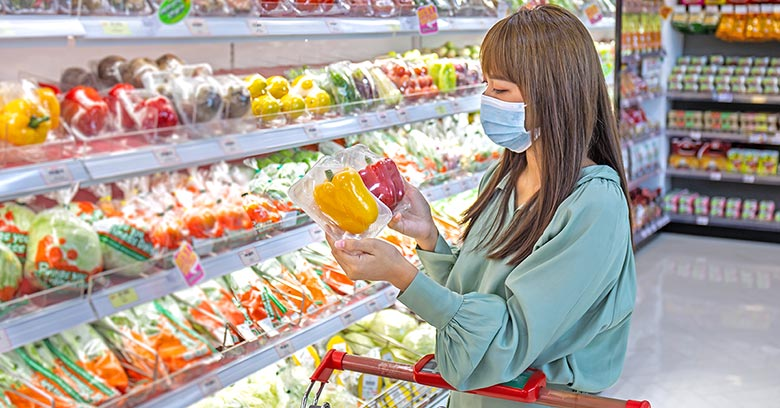 Woman shopping in a Chinese supermarket